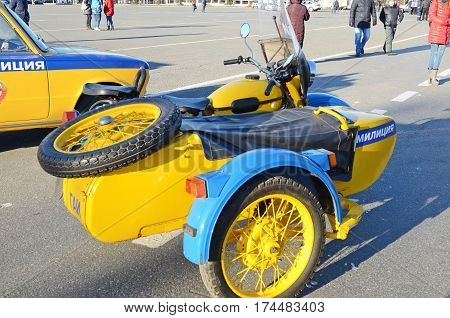 Samara Russia - Nov20 2016: Traffic police motorcycle with sidecar on the show on main square