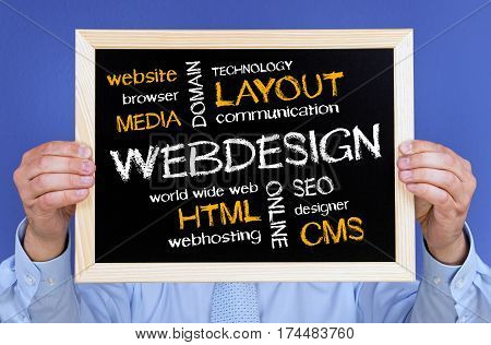 Web Design - Manager holding chalkboard with text