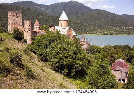 Ananuri castle and church on Aragvi river Georgia