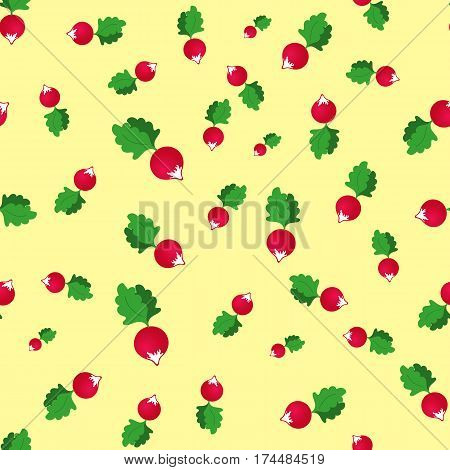 seamless pattern with radish on a yellow background