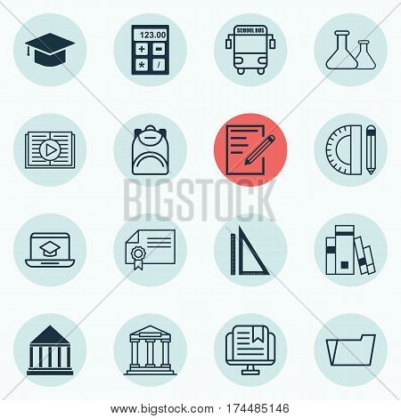 Set Of 16 Education Icons. Includes Haversack, Education Tools, Document Case And Other Symbols. Beautiful Design Elements.