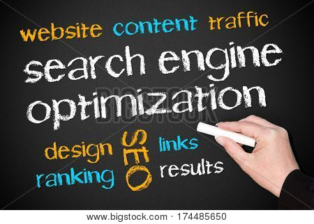 Search Engine Optimization - SEO - blackboard with text