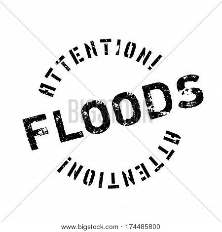Floods rubber stamp. Grunge design with dust scratches. Effects can be easily removed for a clean, crisp look. Color is easily changed.