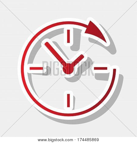 Service and support for customers around the clock and 24 hours. Vector. New year reddish icon with outside stroke and gray shadow on light gray background.