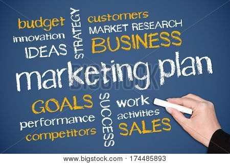 Marketing Plan - female hand writing text on blue background