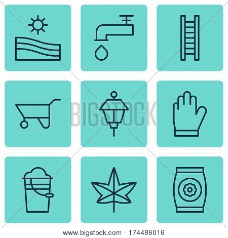 Set Of 9 Holticulture Icons. Includes Protection Mitt, Bucket, Spigot And Other Symbols. Beautiful Design Elements.