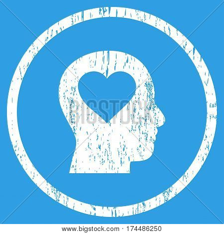 Love In Head grainy textured icon for overlay watermark stamps. Rounded flat vector symbol with scratched texture. Circled white ink rubber seal stamp with grunge design on a blue background.