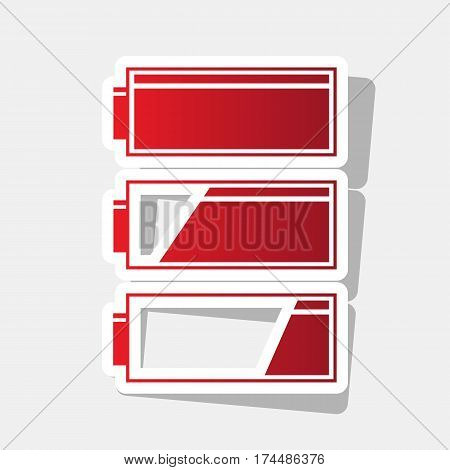 Set of battery charge level indicators. Vector. New year reddish icon with outside stroke and gray shadow on light gray background.