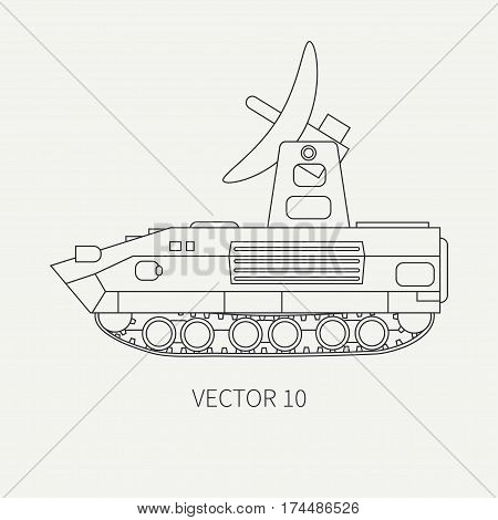 Line flat plain vector icon intelligence service armored army truck. Military vehicle. Cartoon vintage style. Soldiers. Telemetry. Tank. Tractor unit. Tow. Simple. Illustration and element for design.