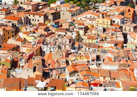 Colorful houses and red roofs of Bosa town in Sardinia