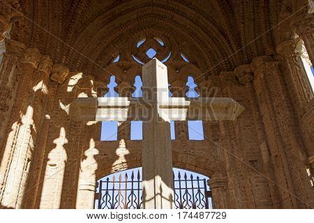 Humilladero Hermitage Cross. Mudejar building near the end of Guadalupe Pilgrimage. It was made for pilgrims to give thanks