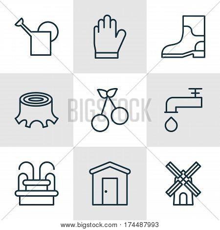 Set Of 9 Holticulture Icons. Includes Rubber Boot, Farmhouse, Spigot And Other Symbols. Beautiful Design Elements.