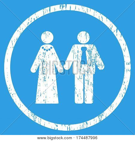 Newlyweds grainy textured icon for overlay watermark stamps. Rounded flat vector symbol with unclean texture. Circled white ink rubber seal stamp with grunge design on a blue background.
