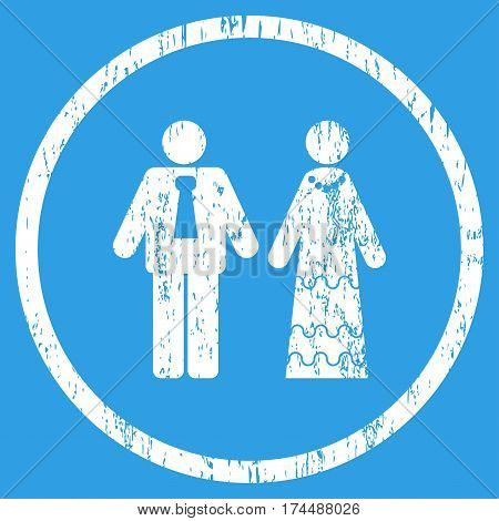 Newlyweds grainy textured icon for overlay watermark stamps. Rounded flat vector symbol with dust texture. Circled white ink rubber seal stamp with grunge design on a blue background.