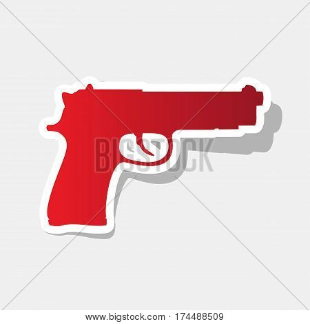 Gun sign illustration. Vector. New year reddish icon with outside stroke and gray shadow on light gray background.