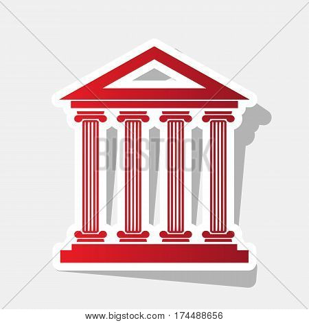 Historical building illustration. Vector. New year reddish icon with outside stroke and gray shadow on light gray background.