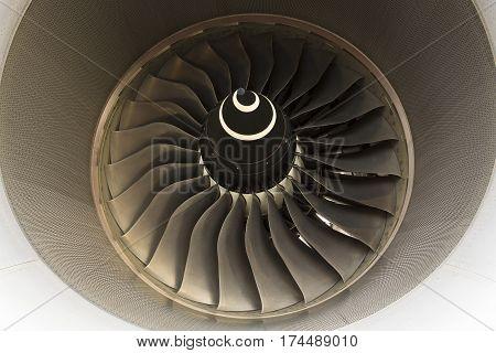 Sofia, Bulgaria - October 16, 2016: Close up of Airbus A380 turbine jet engine.