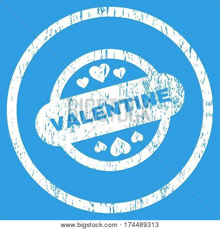 Valentine Stamp Seal grainy textured icon for overlay watermark stamps. Rounded flat vector symbol with unclean texture. Circled white ink rubber seal stamp with grunge design on a blue background.