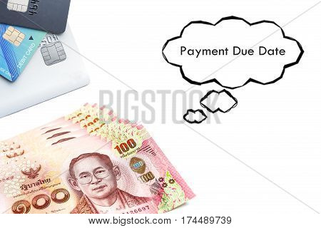 Terms on credit card and debit card concept Payment Due Date text