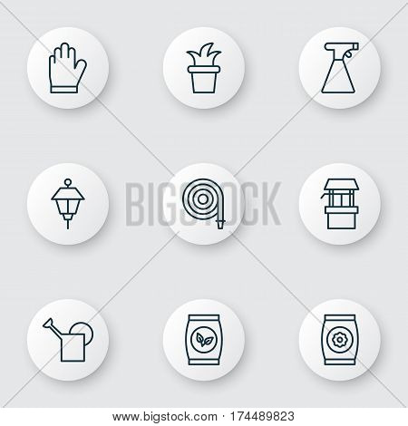 Set Of 9 Gardening Icons. Includes Water Source, Bush Pot, Bailer And Other Symbols. Beautiful Design Elements.