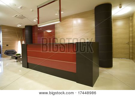 reception desk in waiting room