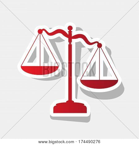 Scales of Justice sign. Vector. New year reddish icon with outside stroke and gray shadow on light gray background.
