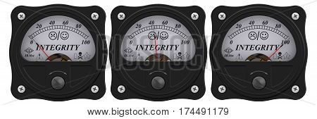 Integrity indicator. Analog indicator showing the level of integrity. 3D Illustration. Isolated