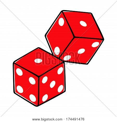 Doodle style illustration of dices all dices are in separated layers