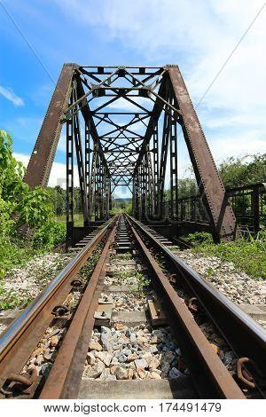 Railway bridge via nature scene in Nakhon Si Thammarat Thailand