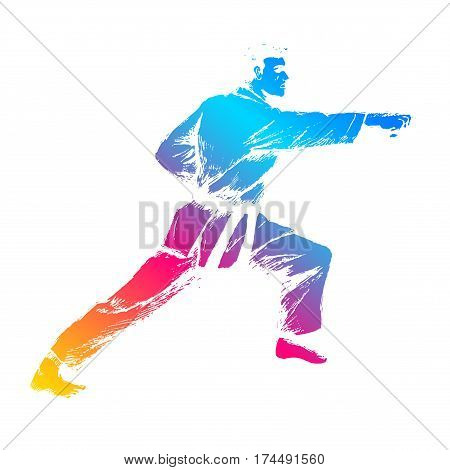 Colorful sketch illustration of martial artist isolated on white