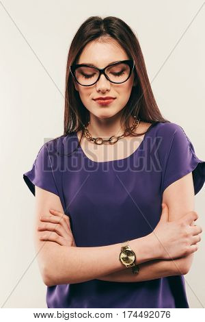Woman Wearing Glasses With Eyes Closed, Portrait Studio