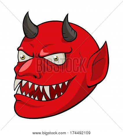 Cartoon illustration of devil head isolated on white