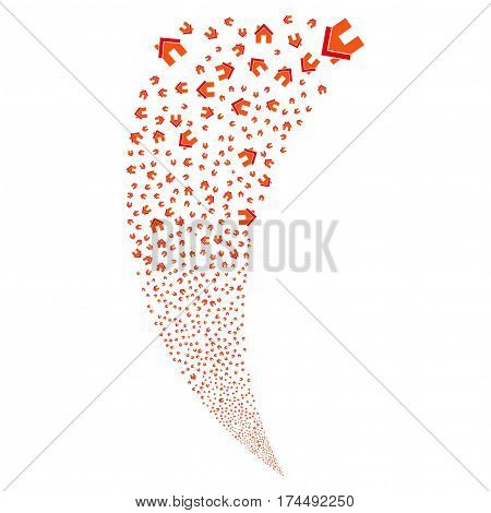 Home random fireworks stream. Vector illustration style is flat intensive red and orange iconic symbols on a white background. Object fountain organized from scattered icons.