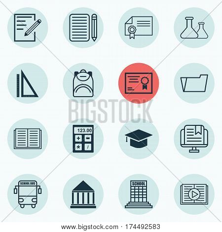 Set Of 16 Education Icons. Includes Education Center, Home Work, Haversack And Other Symbols. Beautiful Design Elements.