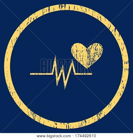 Heart Pulse Signal grainy textured icon for overlay watermark stamps. Rounded flat vector symbol with unclean texture. Circled yellow ink rubber seal stamp with grunge design on a blue background.