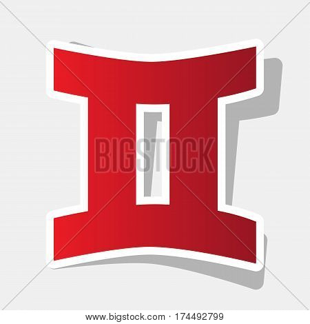 Gemini sign. Vector. New year reddish icon with outside stroke and gray shadow on light gray background.