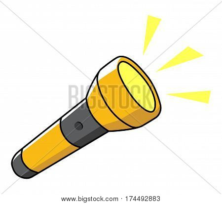 Doodle illustration of a flashlight isolated on white