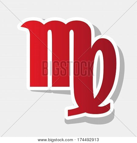 Virgo sign illustration. Vector. New year reddish icon with outside stroke and gray shadow on light gray background.