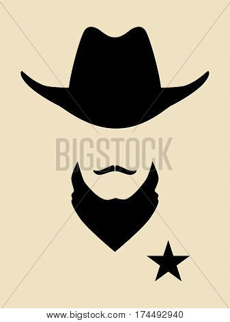 Face simple symbol of a 19th century sheriff
