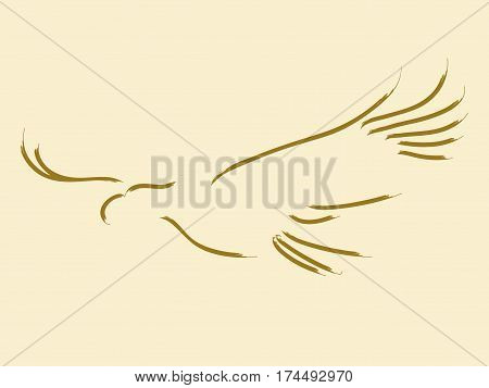 Simple sketch in line art style of a soaring eagle