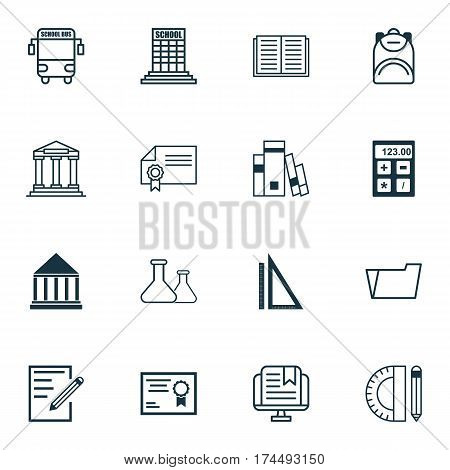 Set Of 16 School Icons. Includes Haversack, E-Study, Document Case And Other Symbols. Beautiful Design Elements.