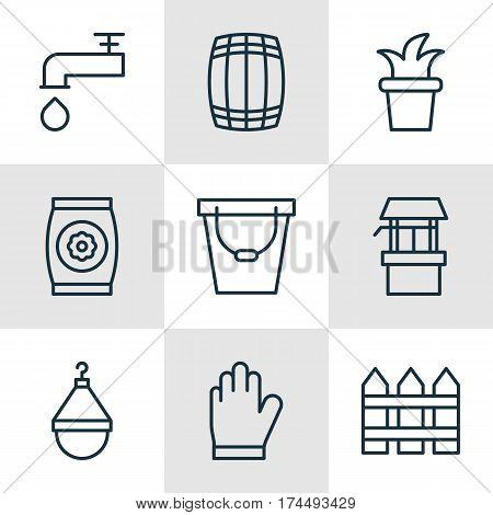 Set Of 9 Plant Icons. Includes Fertilizer, Protection Mitt, Bush Pot And Other Symbols. Beautiful Design Elements.