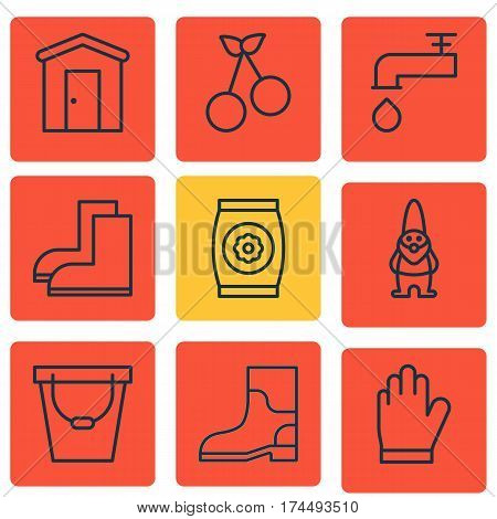Set Of 9 Farm Icons. Includes Pail, Dwarf, Spigot And Other Symbols. Beautiful Design Elements.