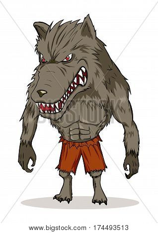 Cartoon illustration of a werewolf isolated on white