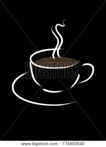 Simple sketch of a cup of coffee