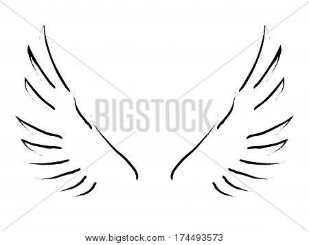 Simple line art of wings on white