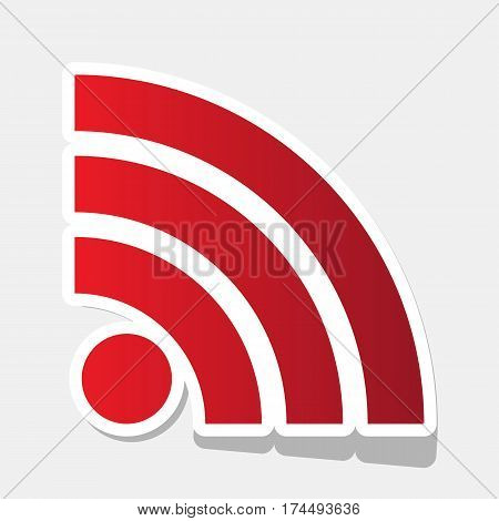 RSS sign illustration. Vector. New year reddish icon with outside stroke and gray shadow on light gray background.