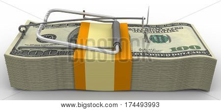 Mousetrap from wads of American dollars without bait on white background. Isolated. 3D Illustration