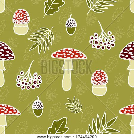 Seamless pattern with cute red fly-agaric amanita mushrooms leaves and other elements. Doodle style wallpaper.