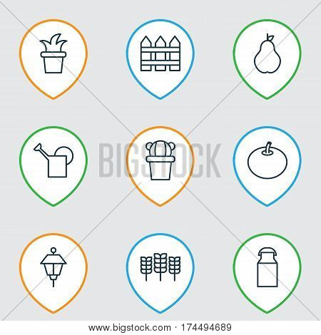 Set Of 9 Farm Icons. Includes Bailer, Desert Plant, Jug And Other Symbols. Beautiful Design Elements.